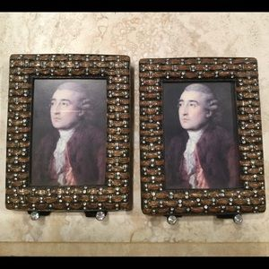 """Pair of Enamel and crystal frames 4 1/2"""" x 3 1/2"""""""
